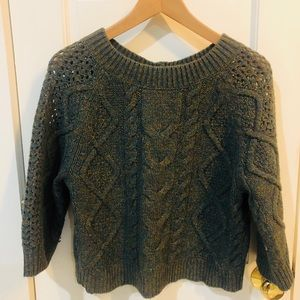 ANTHROPOLOGIE Button-back, cable-knit sweater